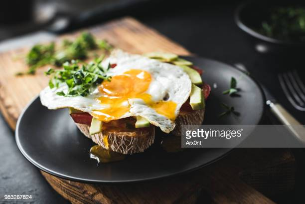 breakfast toast with avocado, fried egg and sprouts - bean sprout stock pictures, royalty-free photos & images