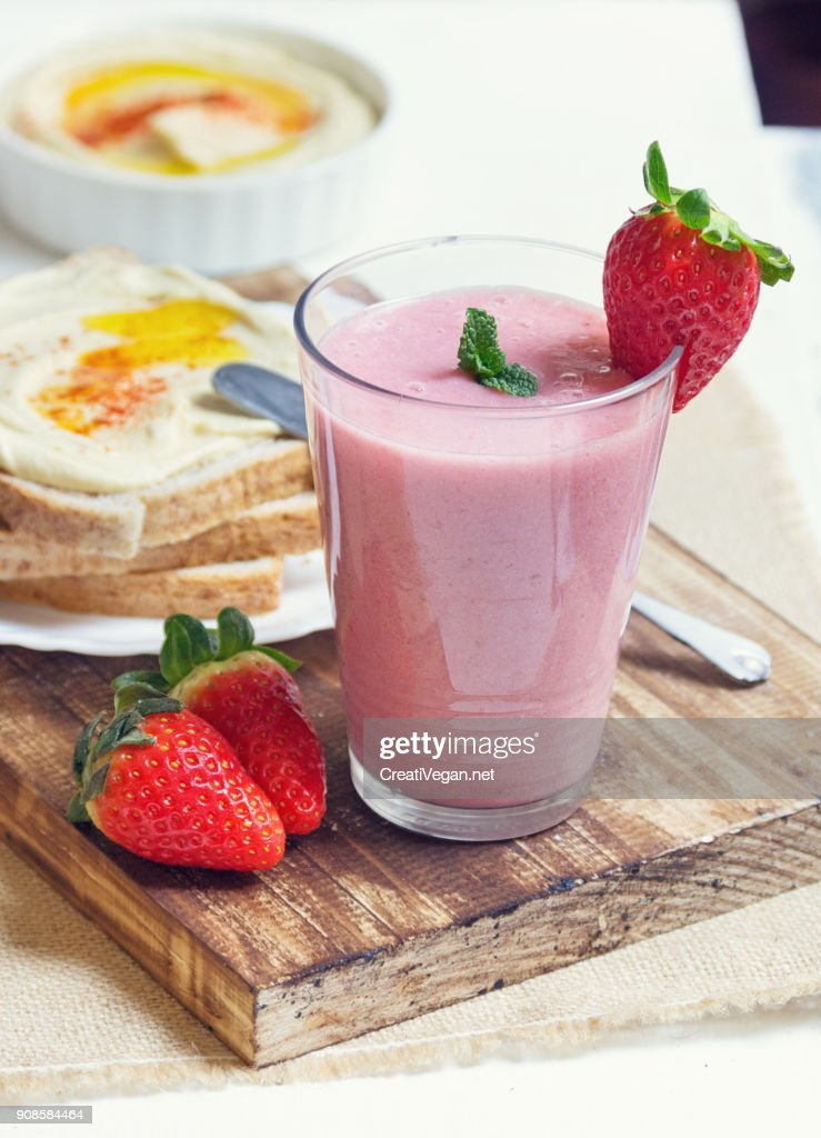 Breakfast toasts and smoothie : Stock Photo