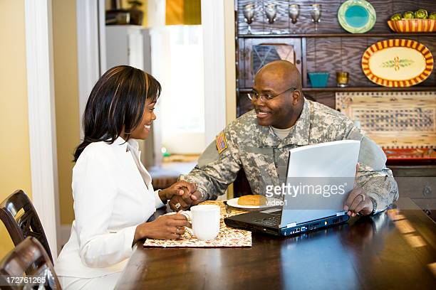 breakfast together - military spouse stock pictures, royalty-free photos & images