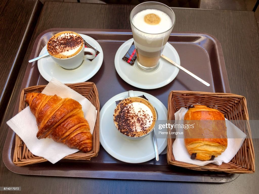 Breakfast Tray Cappucino And Cafe Latte Chocolate Croissant