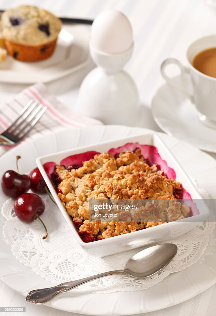 Breakfast with Berry Cobbler : Stock Photo