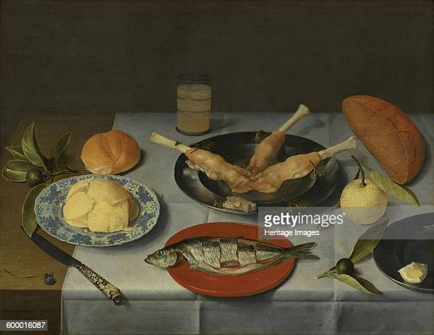 Breakfast with bread, cheese, fish and beer, c. 1615. Found in the collection of Rijksmuseum Twenthe, Enschede. Artist : Hulsdonck, Jacob van .