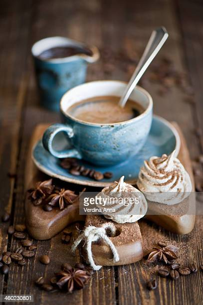 breakfast with coffee and cocoa meringues - anna verdina stock photos and pictures