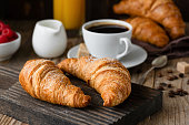 Breakfast with croissants, coffee, orange juice and berries