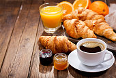 breakfast with cup of coffee and croissants