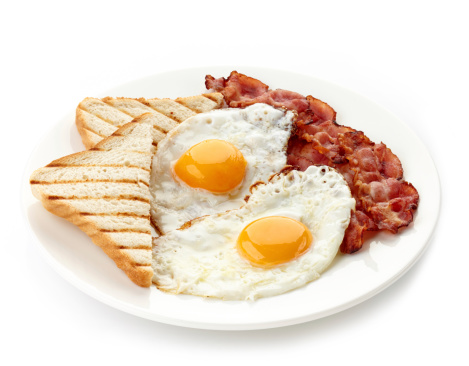 Breakfast with fried eggs, bacon and toasts 463635027