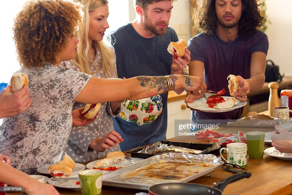 Breakfast with Friends : Stock Photo