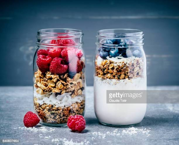 breakfast with granola, berries, and yougurt - granola stock pictures, royalty-free photos & images