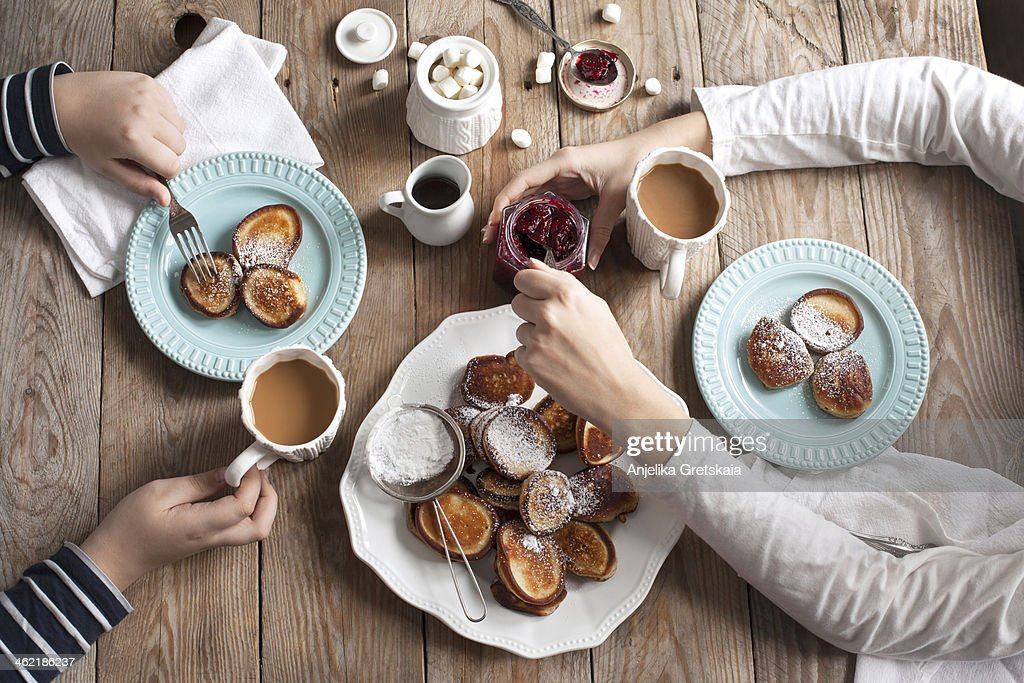 Breakfast with pancakes and hot chocolate : Stock Photo