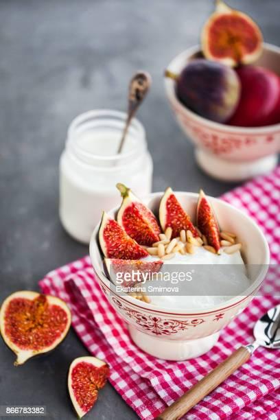 Breakfast with plain yogurt and figs