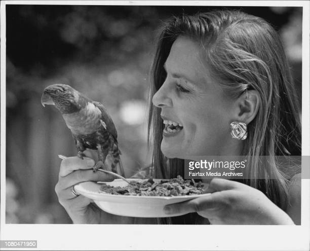 Breakfast with the birdsPhoto of Snezana Dodic enjoying breakfast with a friendly LoriKeet Currumbin Sanctuary Gold Coast November 17 1993