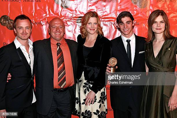 'Breaking Bad' actors Aaron Paul Dean Norris Anna Gunn RJ Mitte and Betsy Brandt accept the AMC Peabody Award at the 68th Annual George Foster...