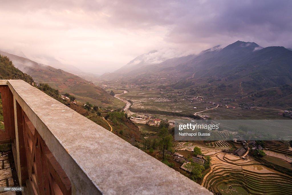 Breaking dawn of Sapa rice terrace , Vietnam : Stock-Foto