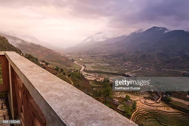 Breaking dawn of Sapa rice terrace , Vietnam