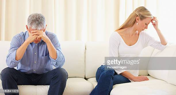 breaking down of a marriage - poor communication - couple arguing stock photos and pictures