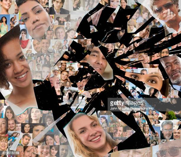 Breaking glass collage of smiling faces