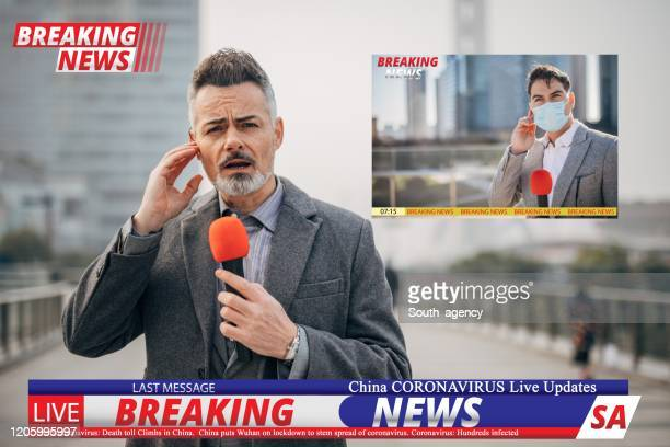 breaking news reporters reporting on coronavirus from china - live event stock pictures, royalty-free photos & images