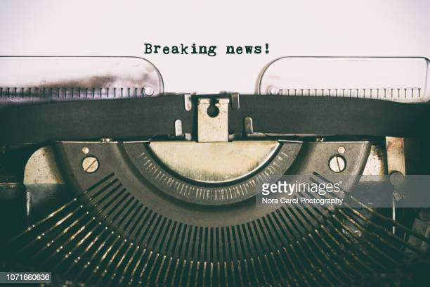 breaking news text  typed on vintage typewriter - article stock pictures, royalty-free photos & images