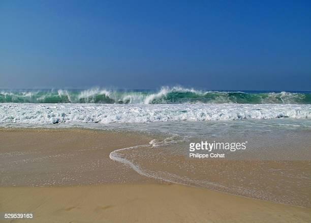 Breaking waves, Copacabana Beach.
