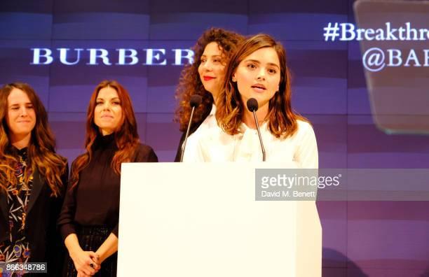 Breakthrough Brits Chloe Thompson Sarah Quintrell and Mahalia Belo listen on as Jenna Coleman speaks onstage during the Burberry BAFTA Breakthrough...