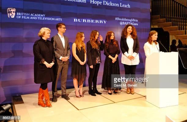 Breakthrough Brits Hope Dickson Leach Henry Hoffman Molly Windsor Chloe Thompson and Mahalia Belo listen on as Jenna Coleman speaks at the Burberry...