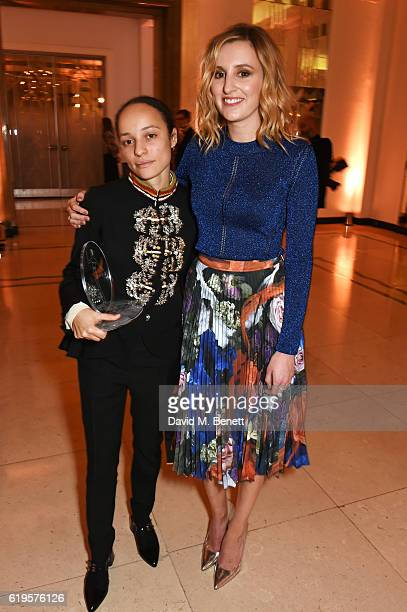Breakthrough Designer of the Year winner Grace Wales Bonner and Laura Carmichael attend the Harper's Bazaar Women of the Year Awards 2016 at...