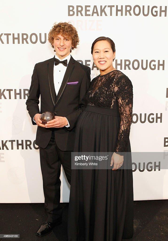 Breakthrough Junior Challenge Award Winner Ryan Chester (L) and Priscilla Chan attend the 2016 Breakthrough Prize Ceremony on November 8, 2015 in Mountain View, California.