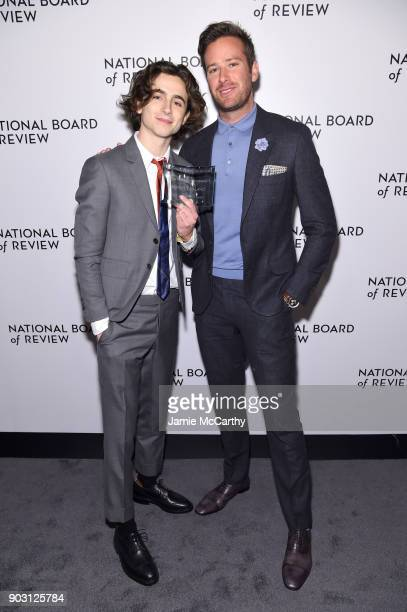 Breakthrough Performance Winner Timothée Chalamet and Armie Hammer attend the National Board of Review Annual Awards Gala at Cipriani 42nd Street on...