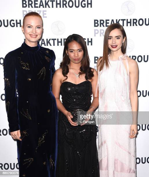 Breakthrough Prize cofounder Julia Milner Breakthrough Junior Challenge Winner Hillary Diane A Andales and actor Lily Collins attend the 2018...