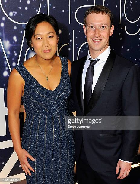 Breakthrough Prize Founders Priscilla Chan and Mark Zuckerberg attend the Breakthrough Prize Awards Ceremony Hosted By Seth MacFarlane at NASA Ames...
