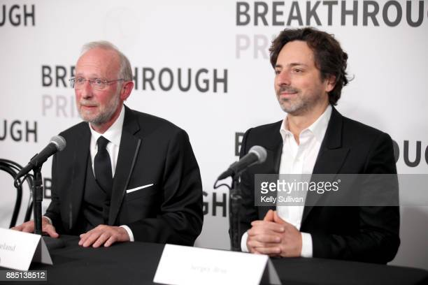 Breakthrough Prize in Life Sciences Don Cleveland and president of Alphabet Sergey Brin attend the 2018 Breakthrough Prize at NASA Ames Research...