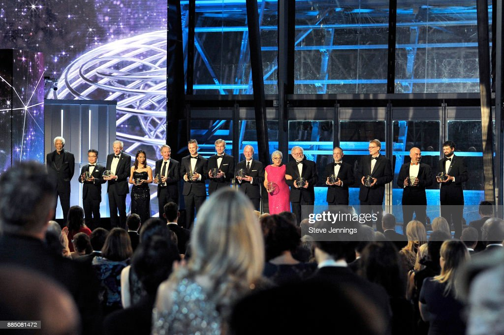 Breakthrough Prize Laureates onstage during the 2018 Breakthrough Prize at NASA Ames Research Center on December 3, 2017 in Mountain View, California.