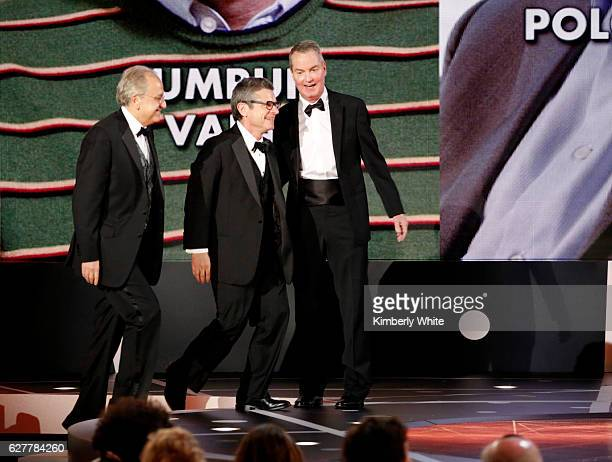 Breakthrough Prize winners in Fundamental Physics Dr Cumrun Vafa Dr Andrew Strominger and Dr Joseph Polchinski walk onstage during the 2017...