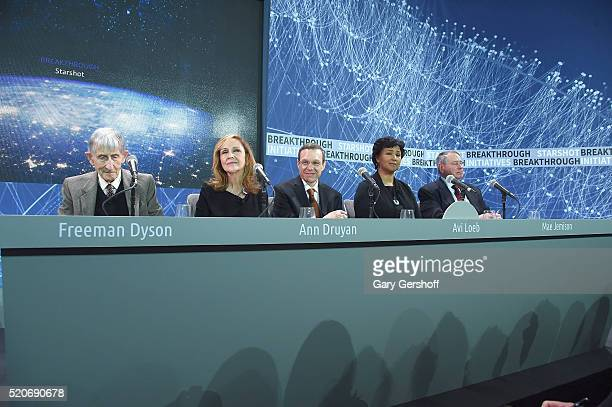 Breakthrough Starshot panel members Freeman Dyson Ann Druyan Avi Loeb Mae Jemison and Pete Worden attend the Space Exploration Initiative...