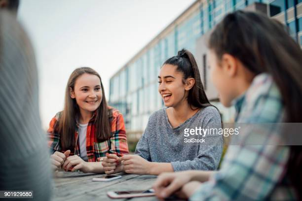 breaktime at school - adolescence stock pictures, royalty-free photos & images