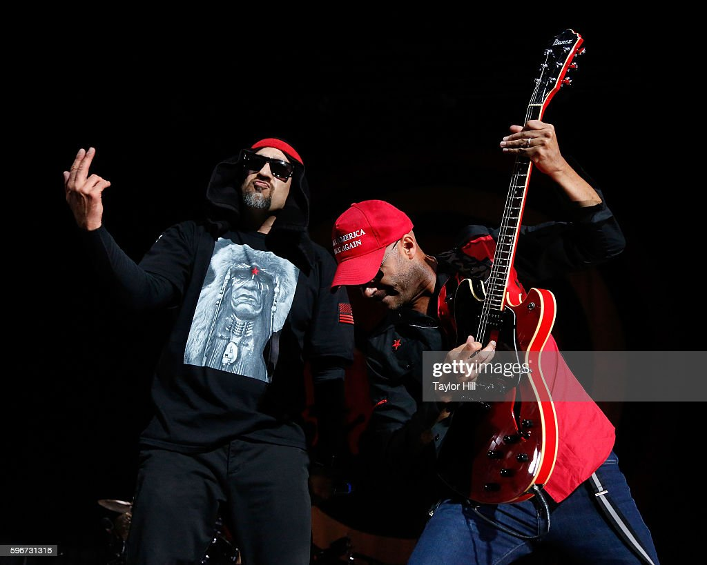 B-Real and Tom Morello of Prophets of Rage perform during the 'Make America Rage Again' tour at Barclays Center on August 27, 2016 in New York City.