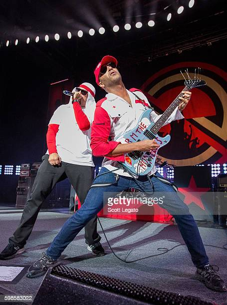 Real and Tom Morello of Prophets of Rage perform in support of the Nobody For President Tour 2016 at DTE Energy Music Theater on September 1 2016 in...