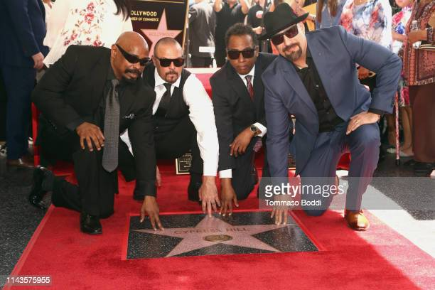 Real DJ Muggs Sen Dog Eric Bobo of Cypress Hill attend a ceremony honoring Cypress Hill With Star On The Hollywood Walk Of Fame on April 18 2019 in...