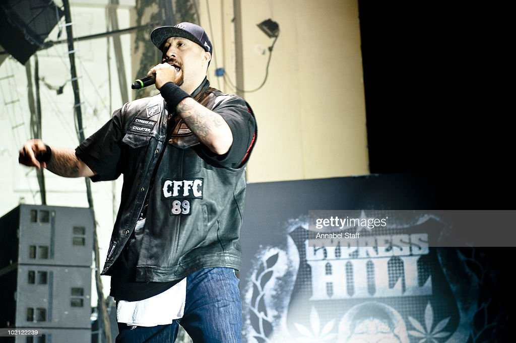 B-Real of Cypress Hill performs on stage at Brixton Academy on June 15, 2010 in London, England.