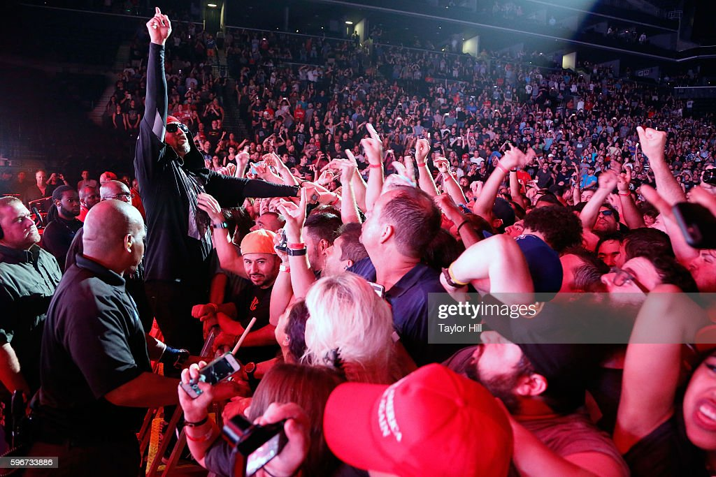 B-Real of Prophets of Rage performs during the 'Make America Rage Again' tour at Barclays Center on August 27, 2016 in New York City.