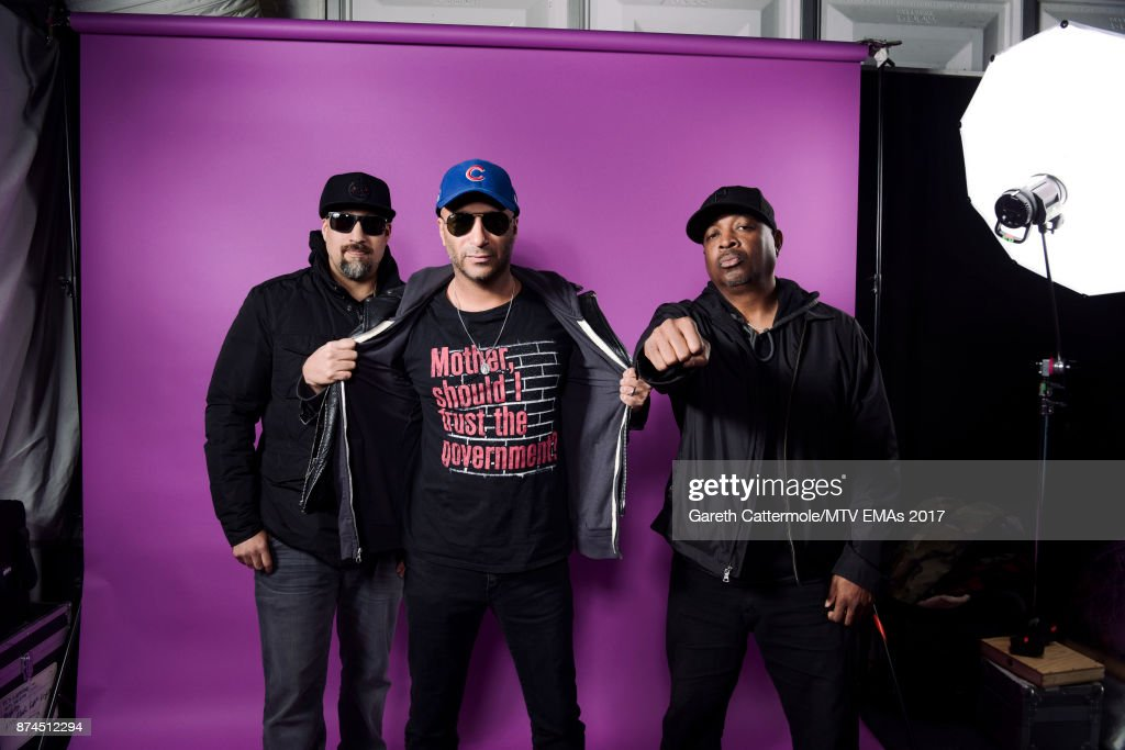 B-Real, Tom Morello and Chuck D of Rap-Rock supergroup Prophets of Rage pose in the Studio during the MTV EMAs 2017 held at The SSE Arena, Wembley on November 12, 2017 in London, England.