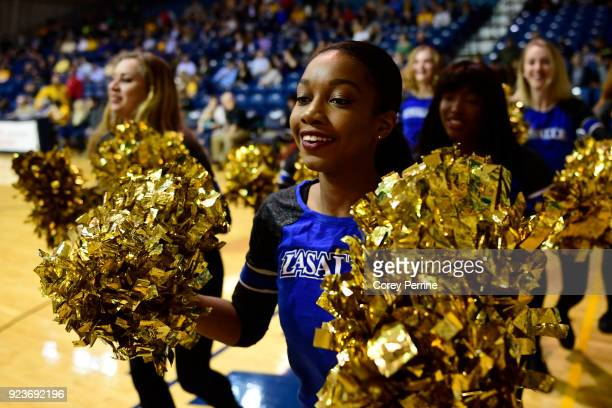 Breana Henderson of Queens New York dances with the Expolorettes dance team before the game at Tom Gola Arena on February 20 2018 in Philadelphia...