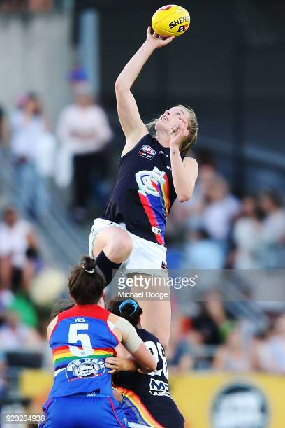 Breann Moody of the Blues competes the ball during the round four AFLW match between the Western Bulldogs and the Carlton Blues at Whitten Oval on...