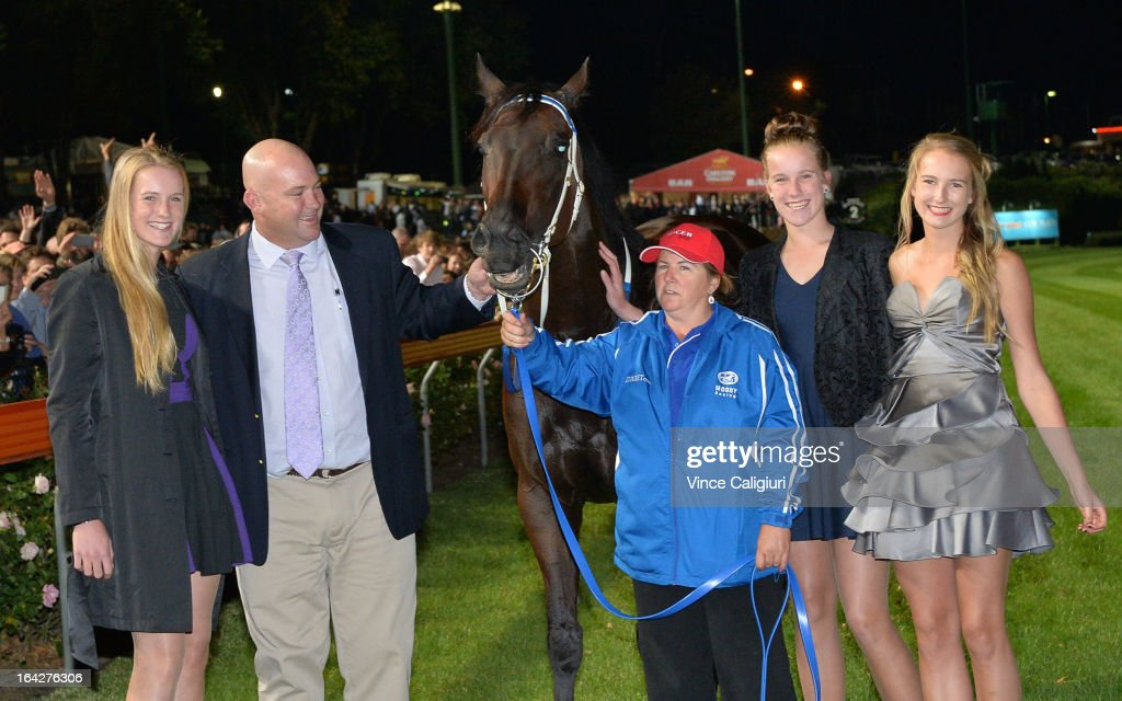 Breann Moody, trainer Peter Moody, strapper Donna Fisher, Celine Moody and Cara Moody after Black Caviar won her 24th straight win in the Hacer Group William Reid Stakes during Melbourne racing at Moonee Valley Racecourse on March 22, 2013 in Melbourne, Australia.