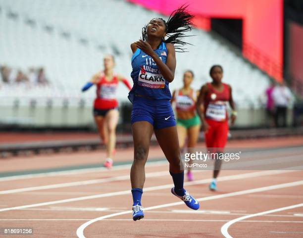 Breanna Clark of USA compete Women's 400m T20 Final during IPC World Para Athletics Championships at London Stadium in London on July 18 2017