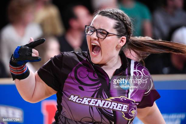 Breanna Clemmer of McKendree University reacts to after bowling a strike during the Division I Women's Bowling Championship held at Tropicana Lanes...