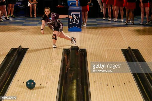 Breanna Clemmer of the McKendree Bearcats bowls during the Division I Women's Bowling Championship held at the Baton Rouge River Center on April 15...