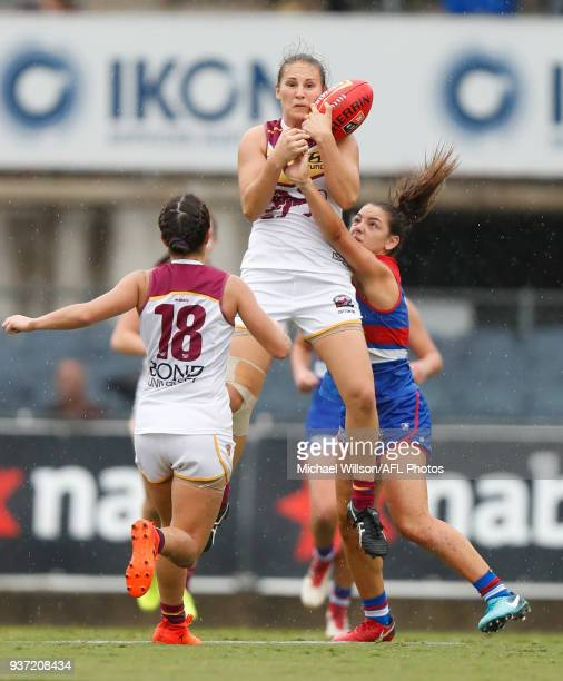 Breanna Koenen of the Lions marks the ball during the 2018 AFLW Grand Final match between the Western Bulldogs and the Brisbane Lions at IKON Park on...