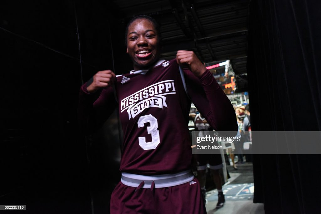Breanna Richardson #3 forward for the Mississippi State Lady Bulldogs poses while leaving the court after their victory over the University of Connecticut Huskies during the 2017 NCAA Women's Final Four at American Airlines Center on March 31, 2017 in Dallas, Texas.