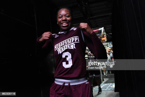 Breanna Richardson forward for the Mississippi State Lady Bulldogs poses while leaving the court after their victory over the University of...